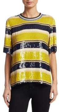 3.1 Phillip Lim Short Sleeve Striped Sequin Top
