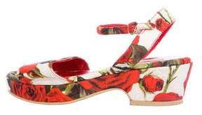 Dolce & Gabbana Girls' Fall 2015 Rose Print Sandals