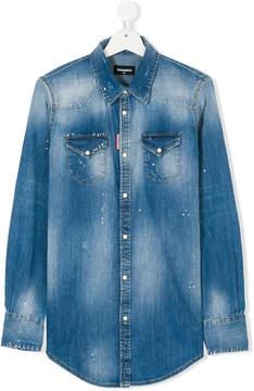 DSQUARED2 Teen faded denim shirt