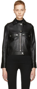 Courreges Black Leather Biker Jacket