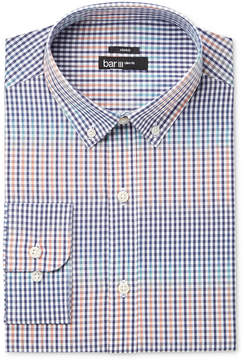 Bar III Men's Slim-Fit Stretch Coral Blue Gingham Dress Shirt, Created for Macy's