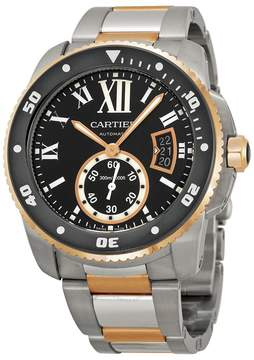 Cartier Calibre Black Dial Steel and Rose Gold Men's Watch