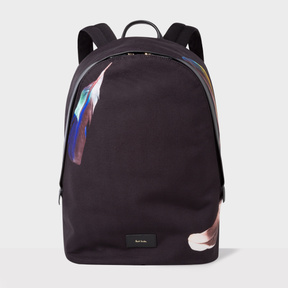 Paul Smith Men's Black Canvas 'Feather' Print Backpack