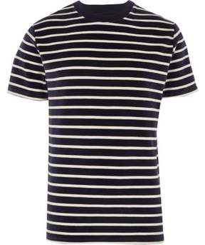 River Island Mens Navy stripe velour crew neck T-shirt