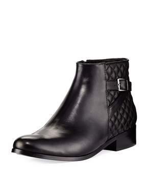 Neiman Marcus Rolly Low-Heel Napa Leather Bootie