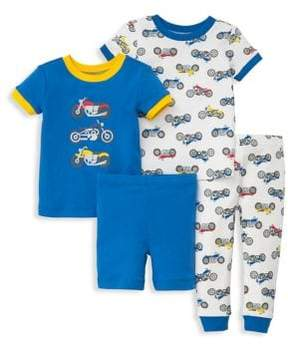 Little Me Little Boy's Four-Piece Motorcycle-Print Tee, Shorts and Pants Pajama Set