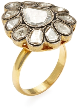 Artisan Women's 18K Yellow Gold & 1.64 Total Ct. Rosecut Diamond Teardrop Ring