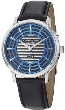 Stuhrling Original Sthrling Original Mens Blue Dial Black Leather Strap Watch