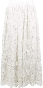 Ashish lace leaf gathered maxi skirt