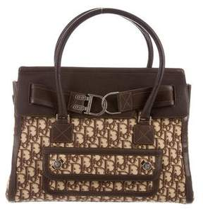 Christian Dior Leather-Trimmed Diorissimo Satchel