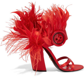 Prada Feather-trimmed Satin Sandals - Red