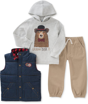 Kids Headquarters 3-Pc. Hooded Shirt, Puffer Vest & Joggers Set, Toddler Boys (2T-5T)