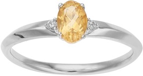 Lauren Conrad 10k White Gold Citrine & Diamond Accent Oval Ring