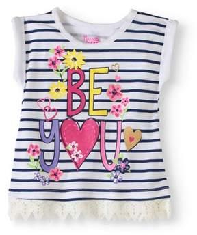 Nannette Toddler Girl Crochet Trim T-shirt