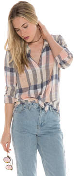 Bella Dahl Frayed Hem Button Down-Pale Blush-S