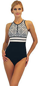 Fit 4 U Fit 4 Ur Long Torso Sea Lace Hi Neck Tank withZipper Swimsuit