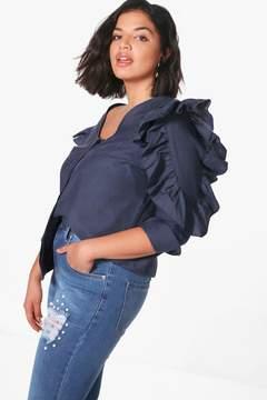 boohoo Plus Karina Ruffle Sleeve Button Through Blouse