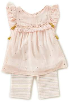Rare Editions Baby Girls 3-24 Months Foiled-Print Top & Striped Leggings Set