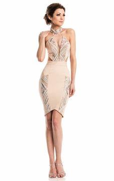 Johnathan Kayne 7213 High Halter Fitted Cocktail Dress