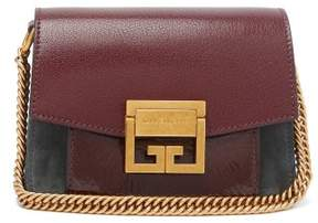 Givenchy Gv3 Mini Suede And Leather Cross Body Bag - Womens - Burgundy Multi