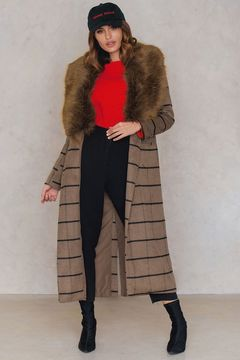 NA-KD Faux Fur Collar Coat