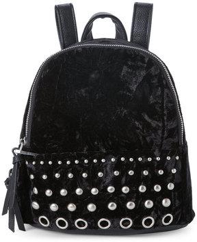 madden girl Black Kore Studded Crushed Velvet Mini Backpack