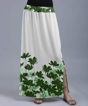 Lily White & Green Floral Silhouettes Maxi Skirt - Women & Plus