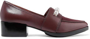 3.1 Phillip Lim Quinn Embellished Leather And Suede Loafers - Burgundy