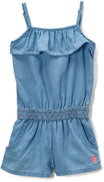 U.S. Polo Assn. Ice Wash Smocking Waist Romper - Toddler