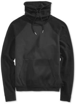 GUESS Mens Mix-Media Funnel Hoodie Sweatshirt
