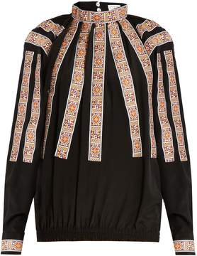 Stella Jean Scendere jacquard-appliqué silk blouse