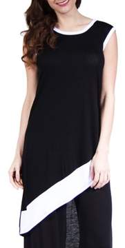 24/7 Comfort Apparel Women's Black Slant Hem Tunic