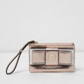 River Island Womens Gold metallic bow front mini purse
