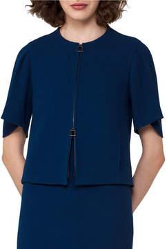 Akris Double-Face Crepe Jacket, Blue