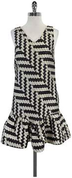 Christian Siriano Black & Cream Knit Sleeveless Dress