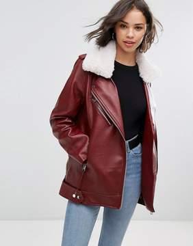 Pull&Bear Faux Fur Collar Aviator Jacket