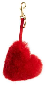 Anya Hindmarch Women's Heart Genuine Rabbit Fur Bag Charm - Red