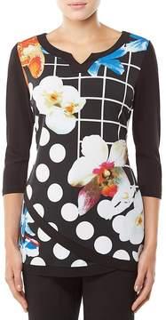 Allison Daley Notch V-Neck Layered Tulip Hem Printed Tunic