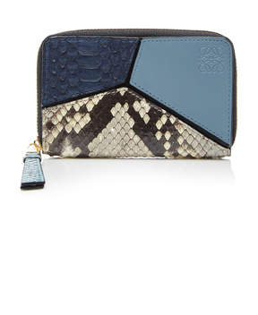 Loewe Puzzle Small Python and Leather Wallet
