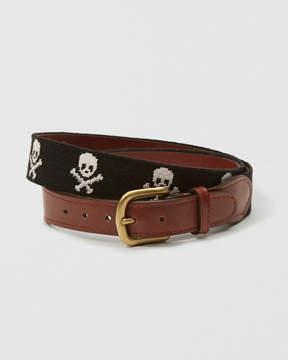 Abercrombie & Fitch Smathers & Branson Jolly Roger Needlepoint Belt