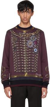 Dolce & Gabbana Burgundy Knight Sweatshirt