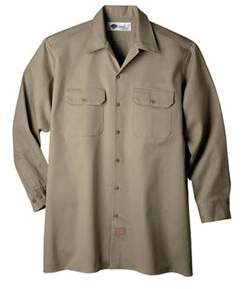 Dickies Men's Long Sleeve Heavyweight Cotton Work Shirt Tall.
