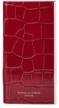 Aspinal of London Iphone 7 Plus Leather Book Case In Deep Shine Red Croc With Cream Suede