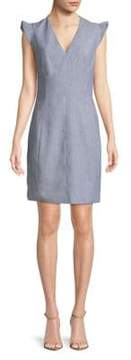 T Tahari Capsleeve Chambray Shift Dress