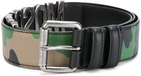 Moschino camouflage logo belt