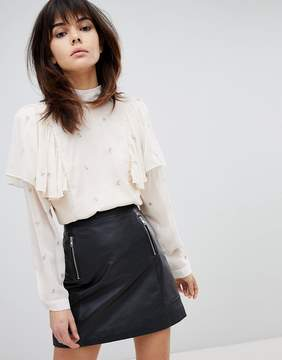Religion High Neck Shirt With Ruffle And Tie Back