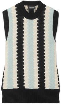 Calvin Klein Crochet-knit Wool And Cotton-blend Top - Sky blue