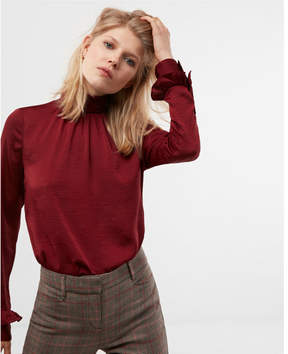 Express smocked turtleneck blouse