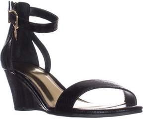 Thalia Sodi Ts35 Areyana Ankle-strap Wedge Sandals, Black Snake.