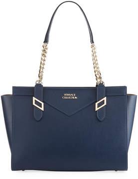 Versace Saffiano Leather Chain Shoulder Bag, Navy